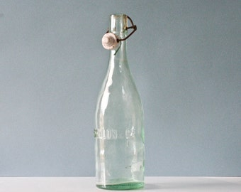 """vintage french glass bottle """"sparkling water"""" - engraved text"""
