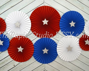 Red, White and Blue Set of Ten (10) Paper Rosettes, Paper Fan Backdrop