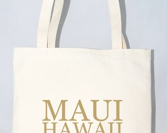Set of 12 Maui, Hawaii Tote Bags Custom City, State Screen Printed Canvas Bags For Wedding Guests
