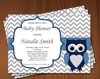 Owl Baby Shower Invitation Boy Baby Shower invitations Printable Baby Shower Invites -FREE Thank You Card - editable pdf Download (550) blue