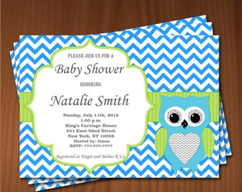 Owl Baby Shower Invitation Boy Baby Shower invitations Printable Baby Shower Invites -FREE Thank You Card - editable pdf Download (553) blue