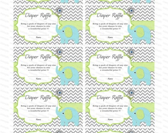 Elephant Baby Shower invitation Diaper Raffle insert Baby Shower Games baby shower diaper raffle ticket (90b)