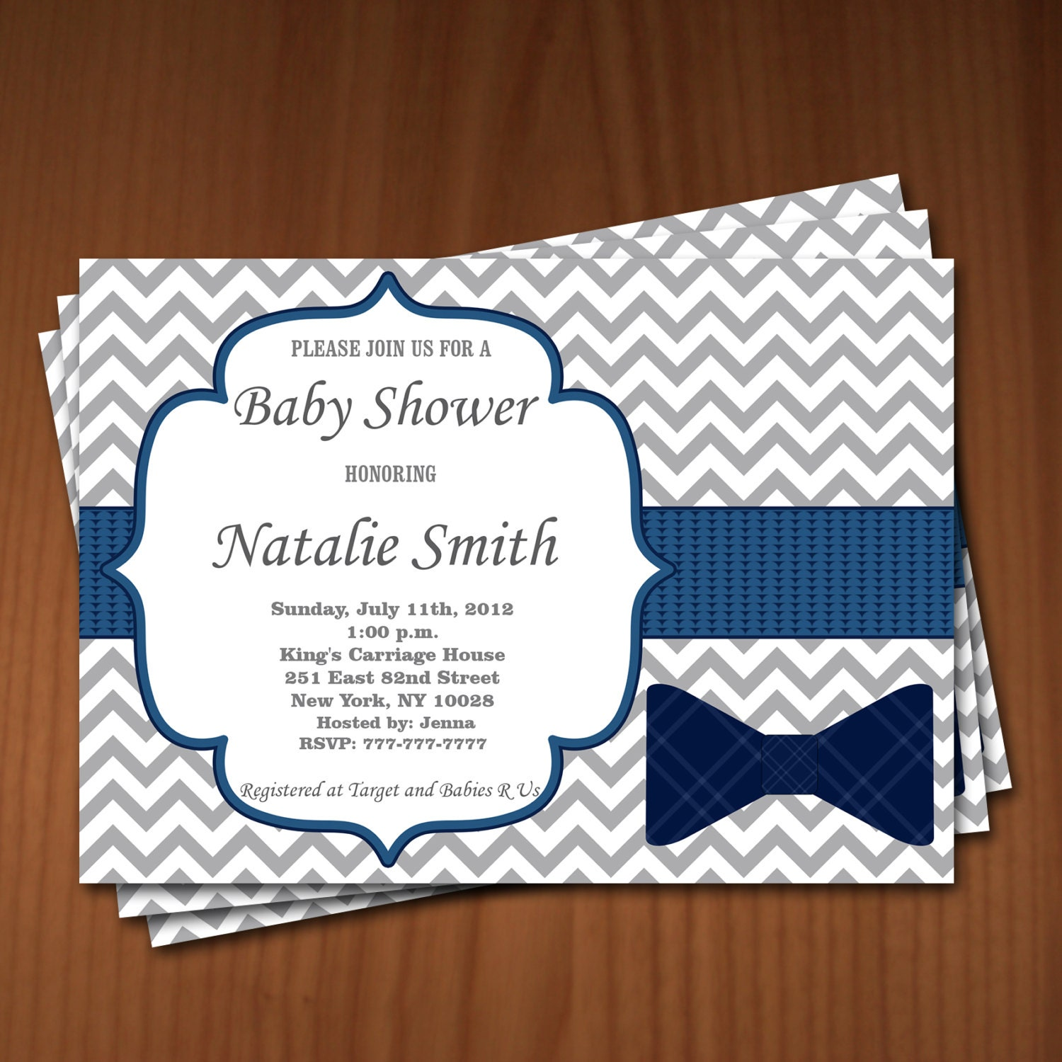 Little Man Bow Tie Baby Shower Invitation Boy Baby Shower