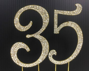 Gold  Rhinestone NUMBER (35) Cake Topper 35th  Birthday Parties FREE SHIPPING
