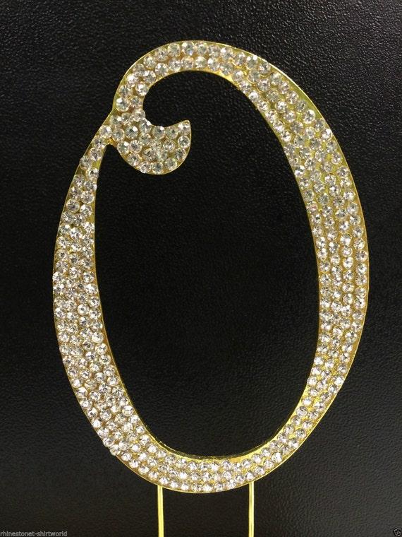 gold plated rhinestone crystal monogram letter o wedding