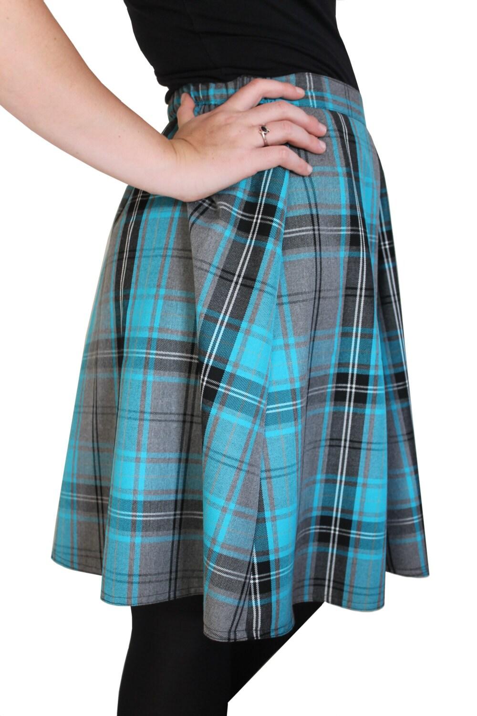 tartan skirt panelled knee length skirt with elasticated back