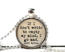 Writer quote resin necklace or keychain word jewelry quote jewelry inspirational quote