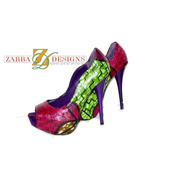 Fuschia Low Heel Wedding Shoes: Green And Fuschia Bridal Peep Toes Shoes Women By ZabbaDesigns