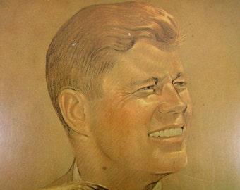 Vintage John F. Kennedy - Robert Kennedy -  Kenndey Brothers Sanger Print  Wood Plaque Art, Vintage Kennedy, Vintage Art