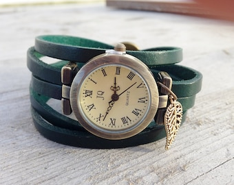 "Watch,Women Watches,Wrap Watch, Bracelet Watch, Wrist Watch, Vintage Watch Leather Bracelet ""pistachio leaf"" Bracelet: darkgreen"