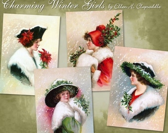 Charming Winter Girls by Ellen Clapsaddle - Digital Download