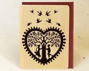 Lovers Valentine Eco-Friendly Fine Art Wood Greeting Card