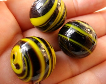Vintage glass large hole solid beads,15mm,3pcs-BDS15
