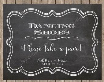 Custom Chalkboard Dancing Shoes Sign Printable