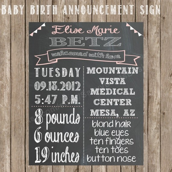 chalkboard baby announcement printable sign