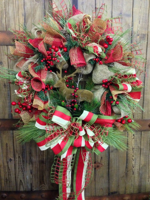 Rustic christmas burlap wreath Burlap xmas wreath
