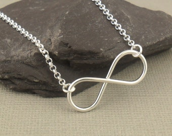 Large Infinity Necklace, Sterling Silver Necklace 925, Infinity Pendant Necklace, Figure Of Eight, Sterling Silver Jewellery