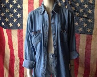 90's denim boyfriend shirt