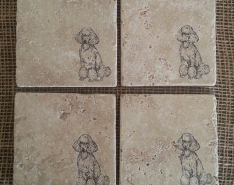 Natural Tumbled Marble Stone Poodle Coasters