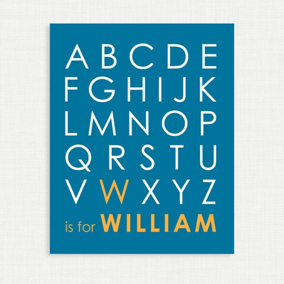 Nursery Wall Decor - Alphabet Poster - Nursery Art Print - Blue and Yellow - 8x10- Kids Nursery Wall Art