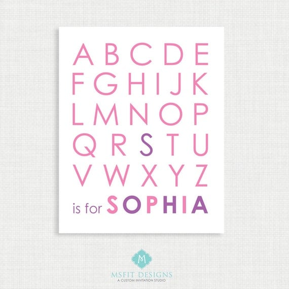 Printable Wall Art- Alphabet Poster - Nursery Art Print - Pink and Purple - 8x10- Kids Nursery Wall Art