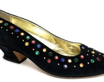 Vintage Size 7 Medium Escada Black Suede Pumps or Shoes