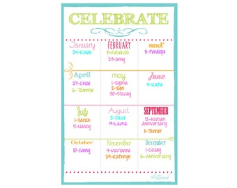 Class Birthdays, Employee Birthdays,  Class Birthday Organizer, Employee Birthday Organzier