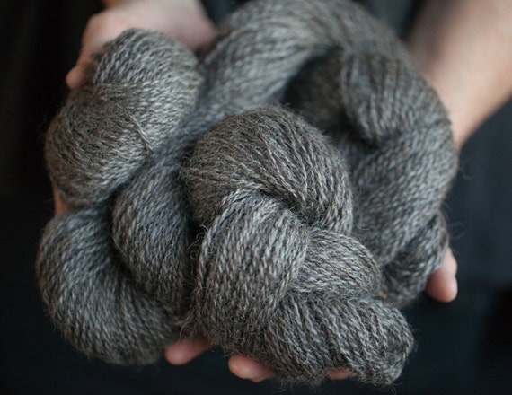 Knitting Patterns For Wensleydale Wool : Wensleydale and Merino Wool Yarn Natural Color Silver Grey