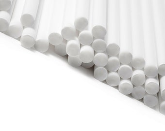 White Plastic Lollipop Sticks Cake Pop Dowels Solid Bulk Wholesale Chocolate (multiple sizes available)