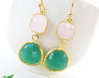 Pink and Emerald Earrings Gold Pink and Kelly Green Bridesmaid Earrings Kelly Green Earrings Ice Pink with Green Earrings Jade green earring