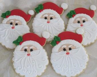 Santa Claus Face Christmas Cookies - Holiday Party Favors, Xmas Cookies, Winter Theme, Santa Face, Santa Cookies, Custom Cookies