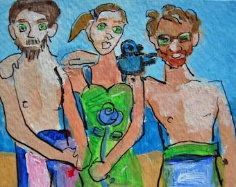 Beach Buds w/Bluebird original aceo painting