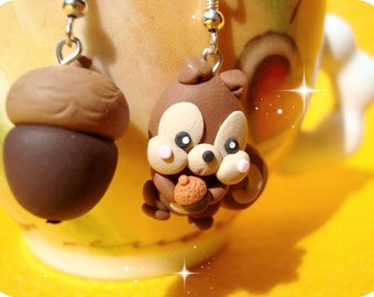 Squirrel and tasty acorn Kawaii Earrings Polymer Clay