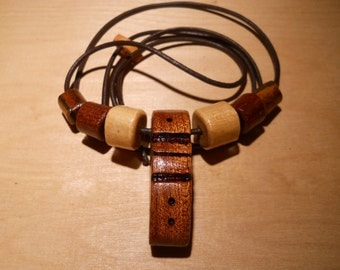 Handcraft wooden beads and pendant necklace