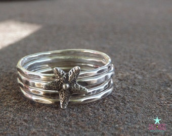 Sterling silver Starfish stacking ring set jewelry - hammered textured patina stackable stacker Hawaiian Aloha ocean