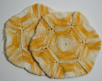 Pair of Vintage Yellow and White Crochet Pot Holders
