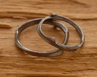 Unique Wedding Band Set, Modern Sterling Silver Wedding Bands, Tree Branch Rings BE35m