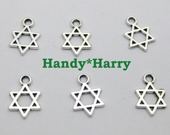 "50 // 100  Silver Tone ""Star of David"" Kabbalah Charm OR Pendant Charm Sweet charm for your DIY Craft Project Jewish Charms"