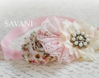Baby girl PINK headband, Pink and ivory baby headband, shabby chic roses headband, newborn head band, headbands