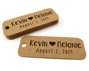 Wedding Tag - Custom Wedding Favor Tags - Personalized Tag - 50 Count - 2.0 in. x 0.75 in. - Kraft Tags - Custom Wedding Tags - Favor Tag