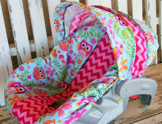 owls and pink chevron infant car seat cover by squeakybugbabies. Black Bedroom Furniture Sets. Home Design Ideas