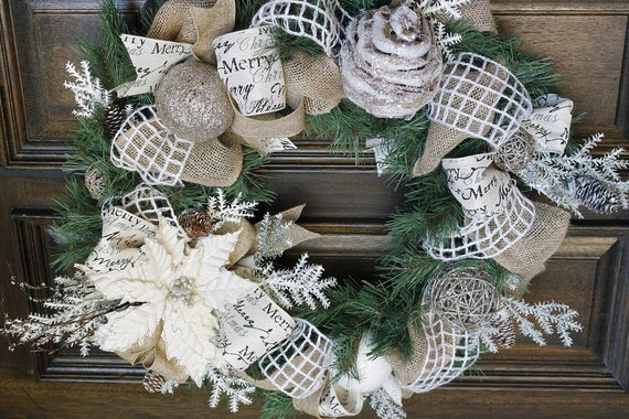 items similar to christmas wreath burlap wreath. Black Bedroom Furniture Sets. Home Design Ideas