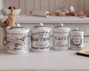 Dollhouse Miniature Vintage French Kitchen Metal Canisters.
