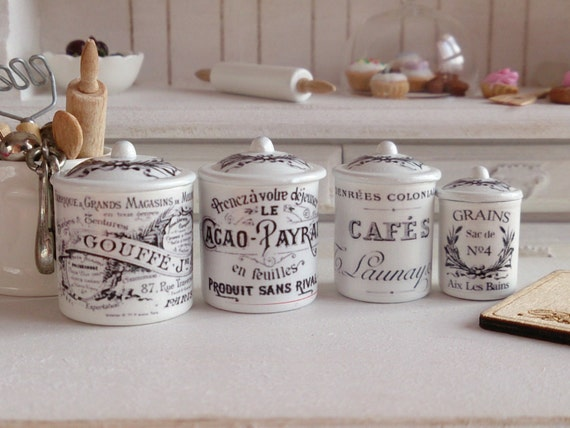 Dollhouse Miniature Vintage French Kitchen Metal Canisters