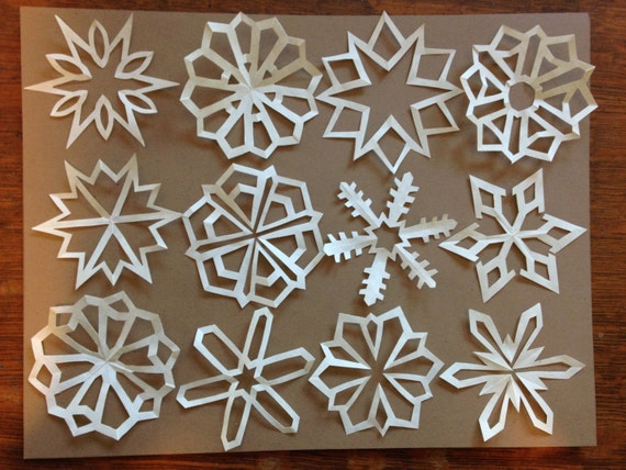 small graph paper snowflakes set of twelve
