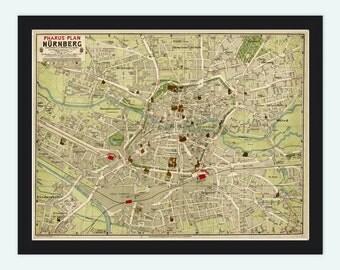 Old Map of Nuremberg 1903 France Vintage Map