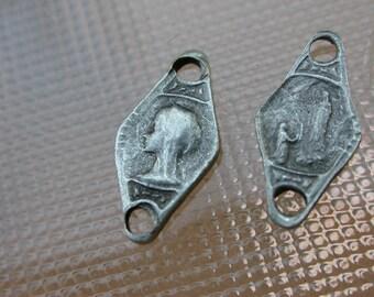 French vintage 4pcs  medal religious rosary medal connector silver tone vintage charm virgin mary notre dame de lourdes art deco