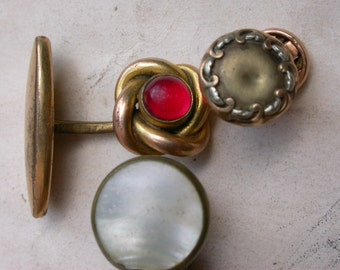 3pcs  french antique Gold sleeve button Cuff Links Ruby glass green mother of pearl engraved solid bronze based  man jewelry man shirt chic