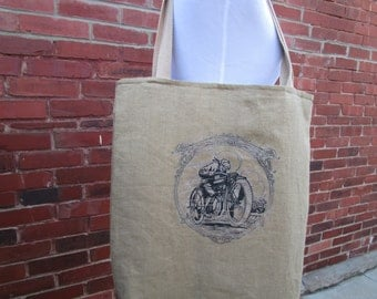 Linen Tote Bag  with Vintage Motorcycle Image Shopping Bag