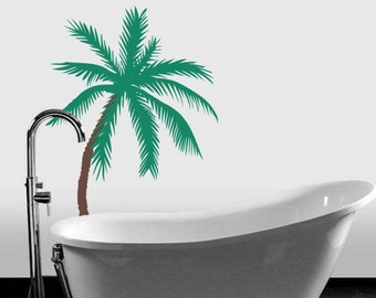 """Palm Tree Vinyl Wall Decal Sticker 2 Color 33""""h x 22""""w"""